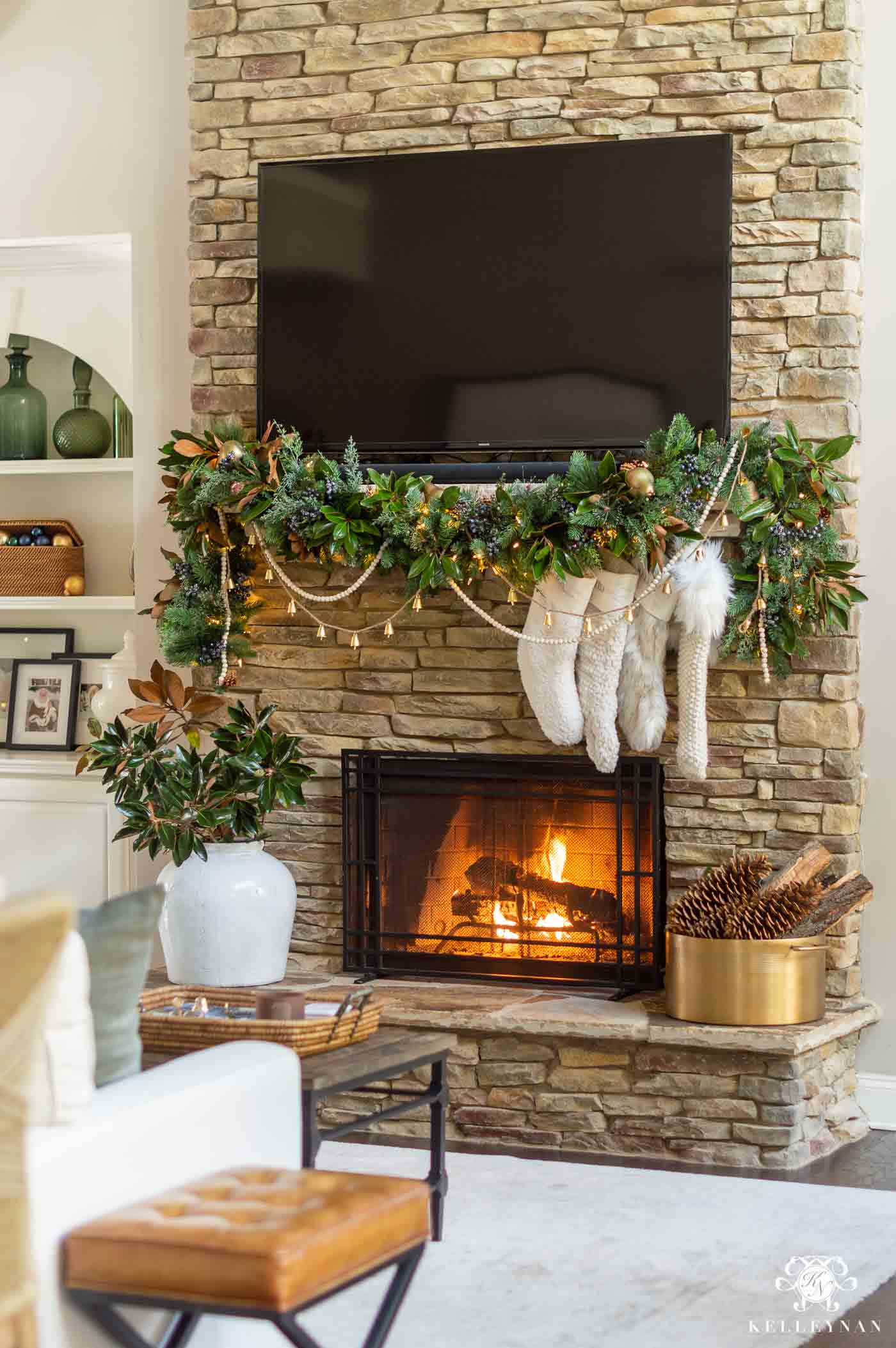 How to Decorate a Stone Fireplace and mantel with Christmas Decor