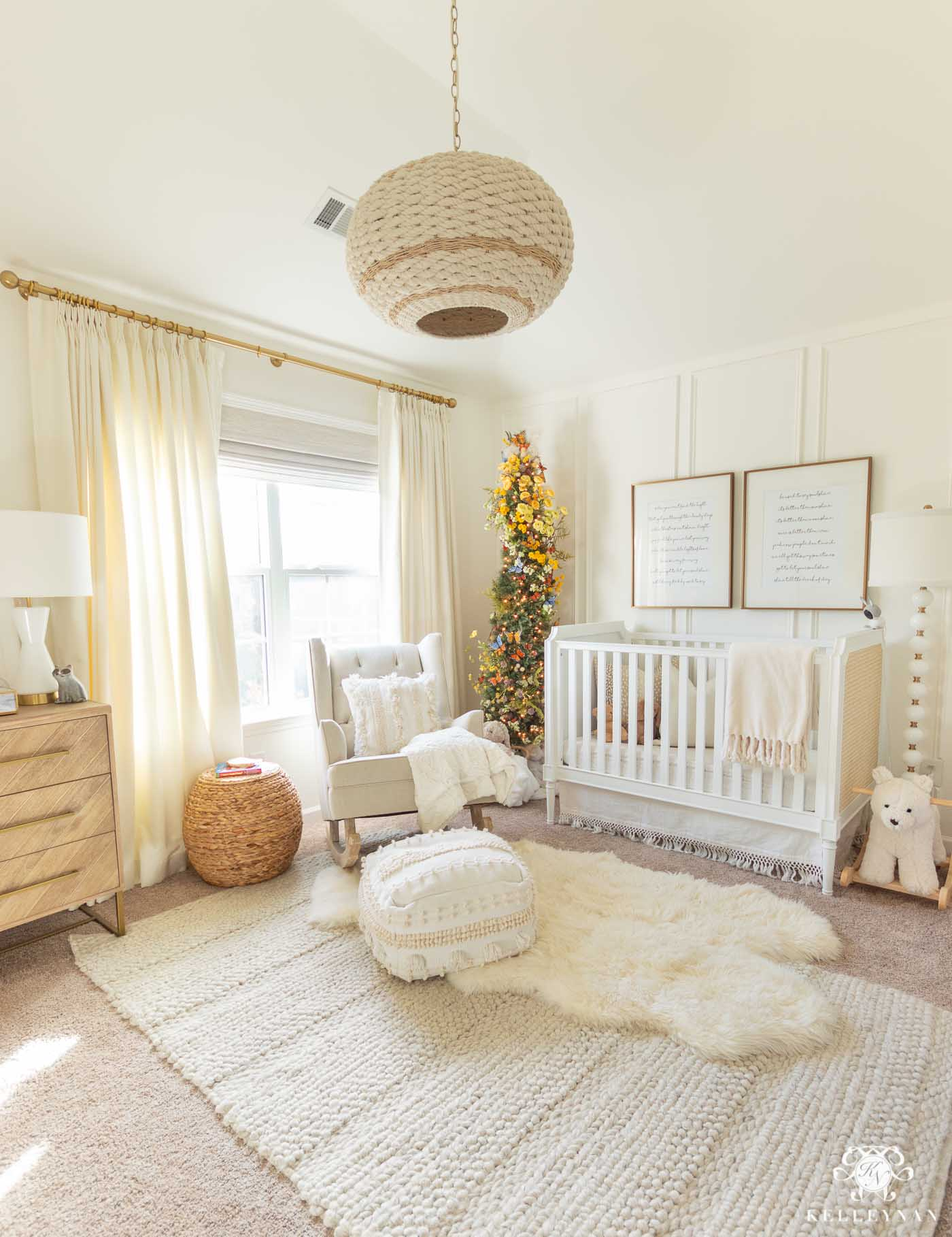 Christmas Nursery with Butterfly Christmas Decor
