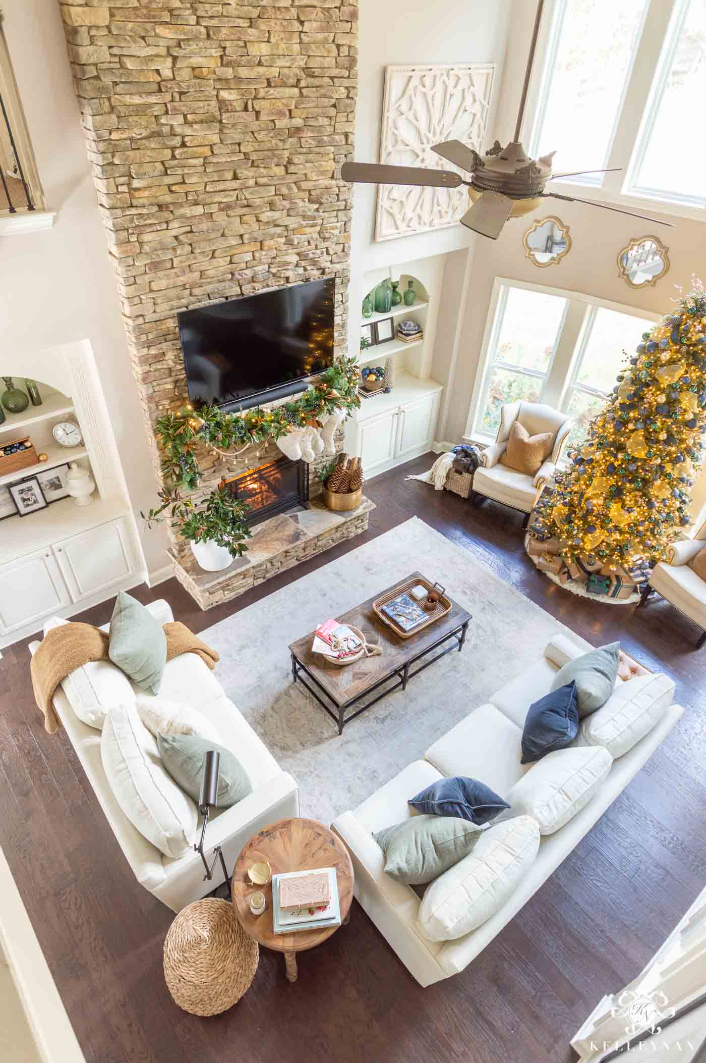 two Story Living Room Christmas decorating ideas