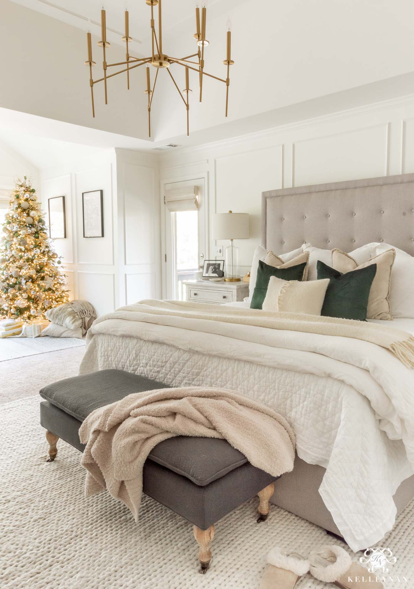 Green and white christmas decor in the master bedroom