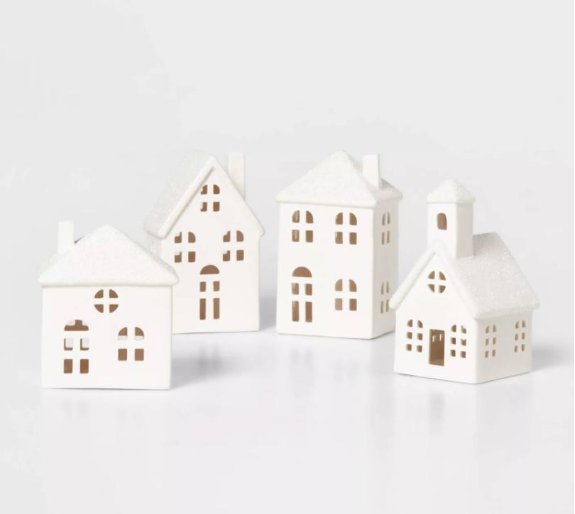 White Christmas Village Houses Decor
