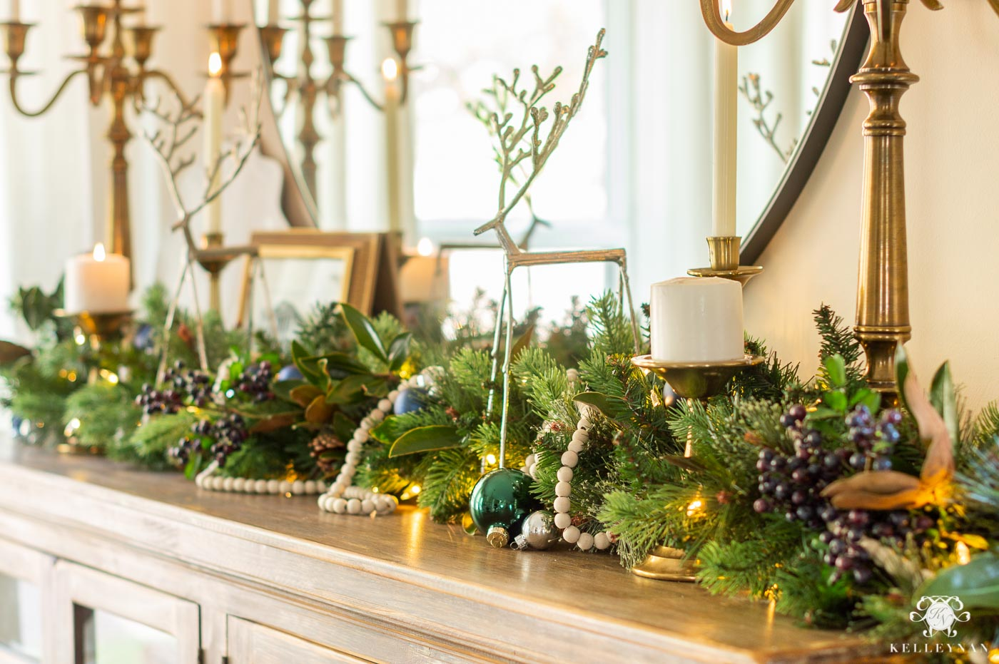 Ideas for Sideboard Greenery with Wood Bead Garland