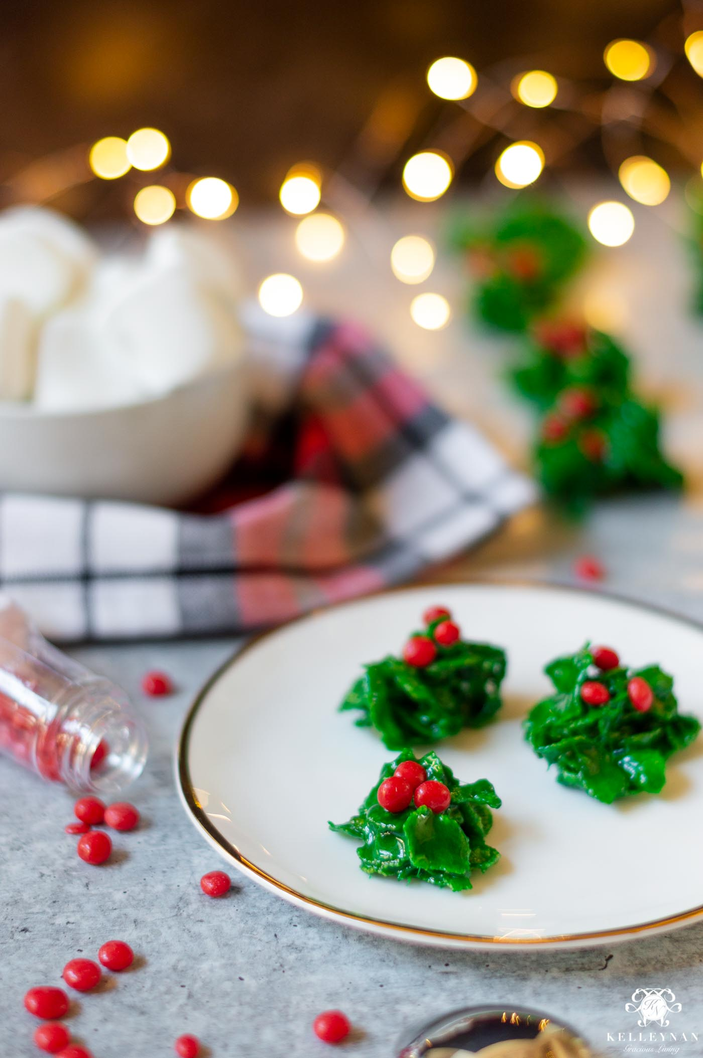5 EASY Christmas Treats with 5 Ingredients (or less!) Christmas Holly Cookies are a Classic!