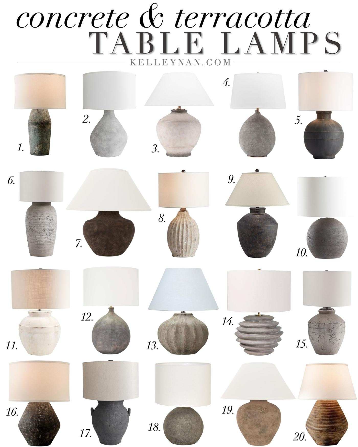 20 Concrete Table Lamps & Terracotta Lamps