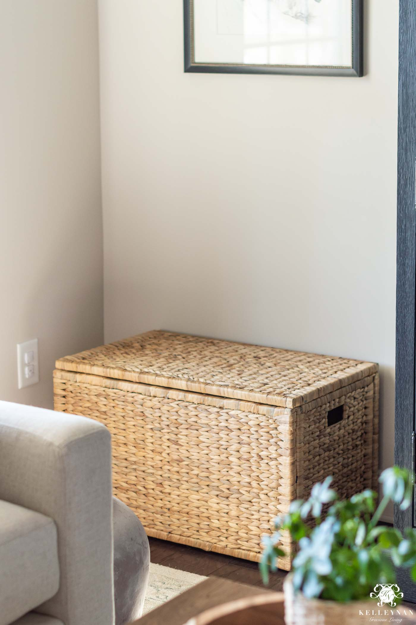 pretty living room storage -- rattan trunk
