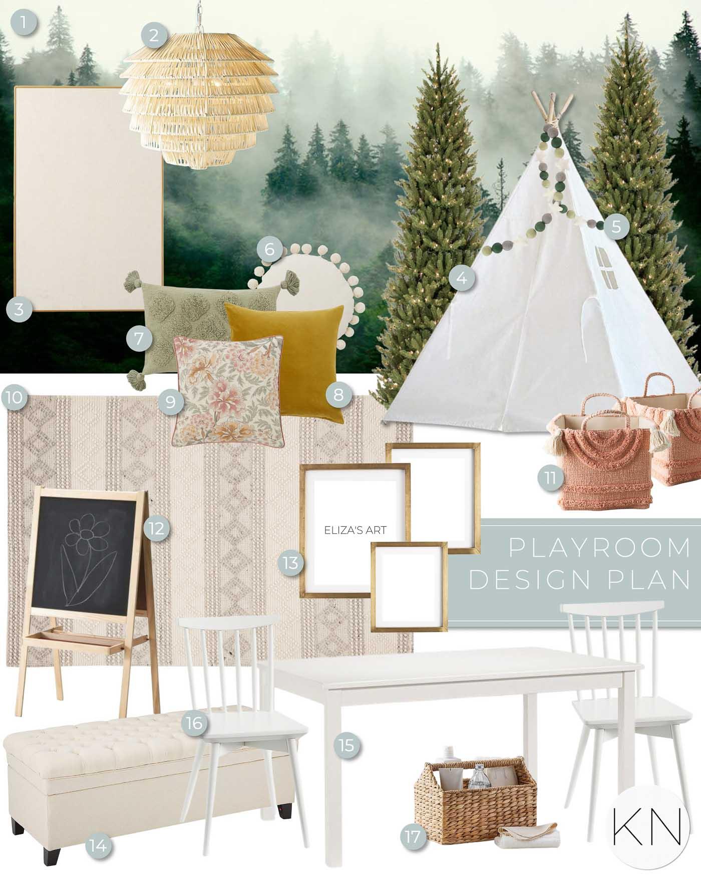 Girls forest playroom design