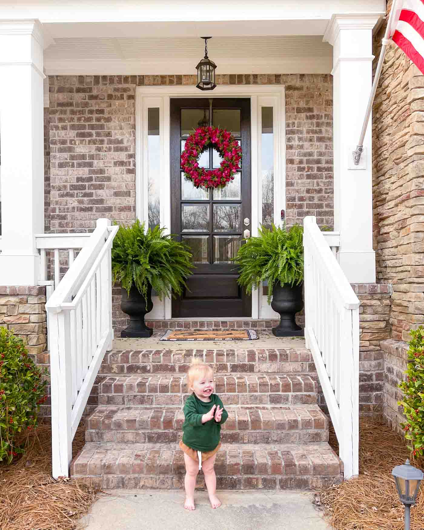 Front Porch Spring Decor with Costco Ferns