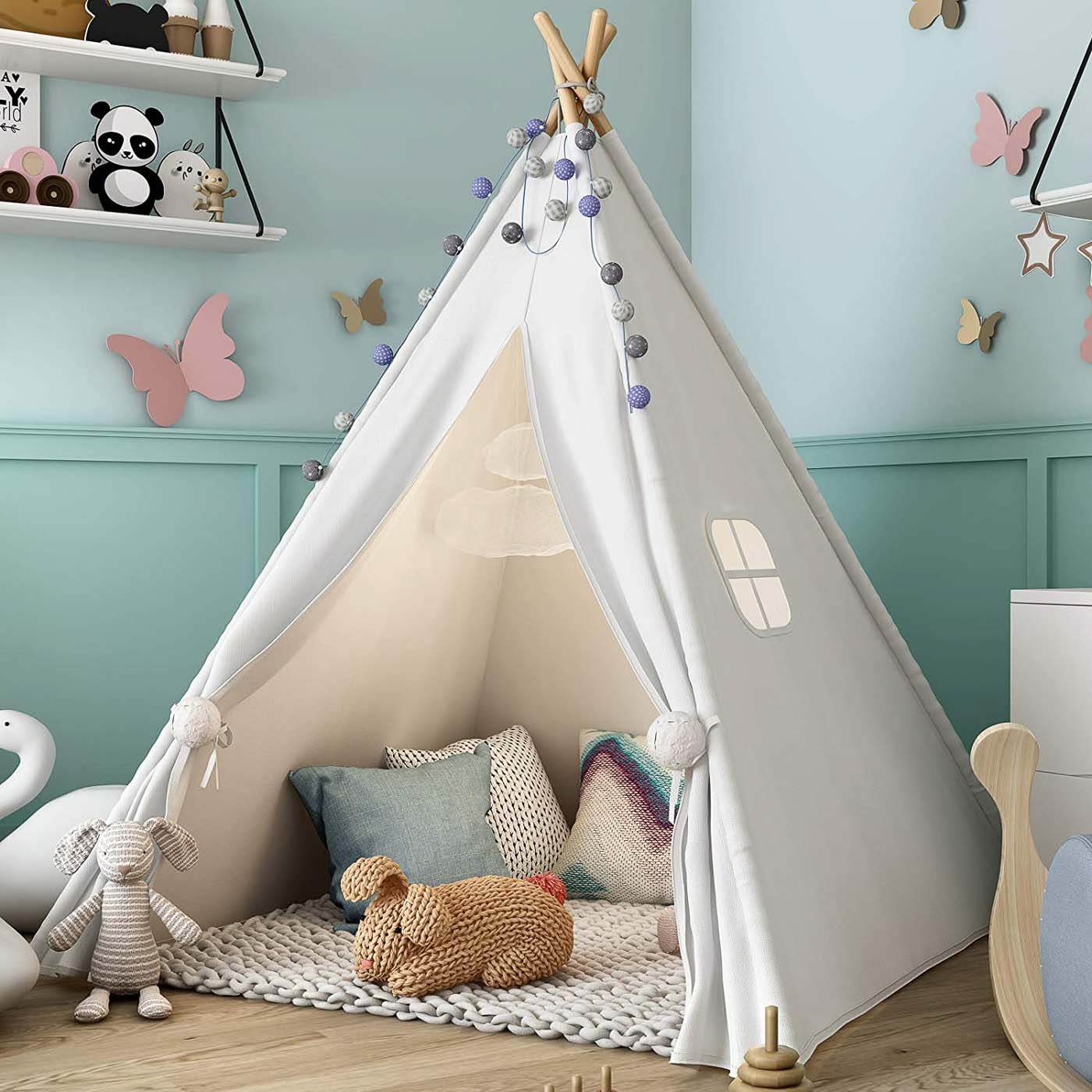 white teepee tent for playroom