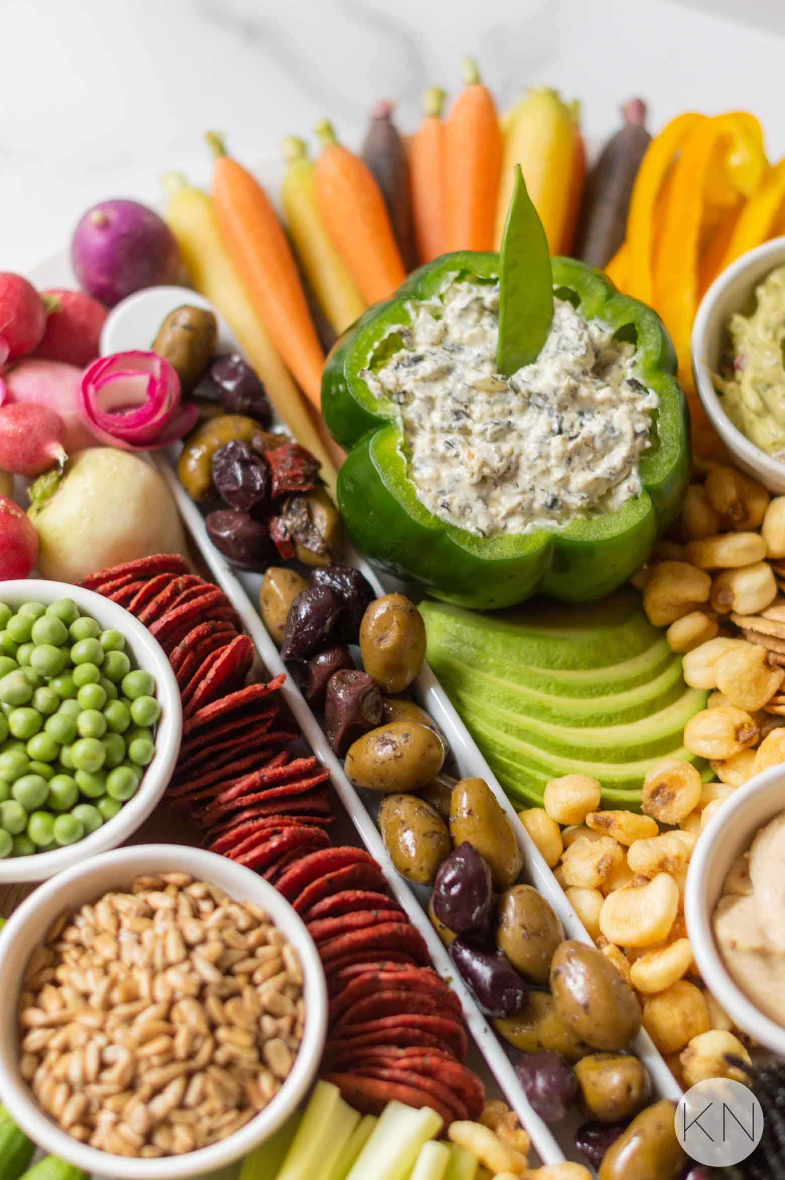 Vegetarian Crudité Board for a Meatless Party Tray