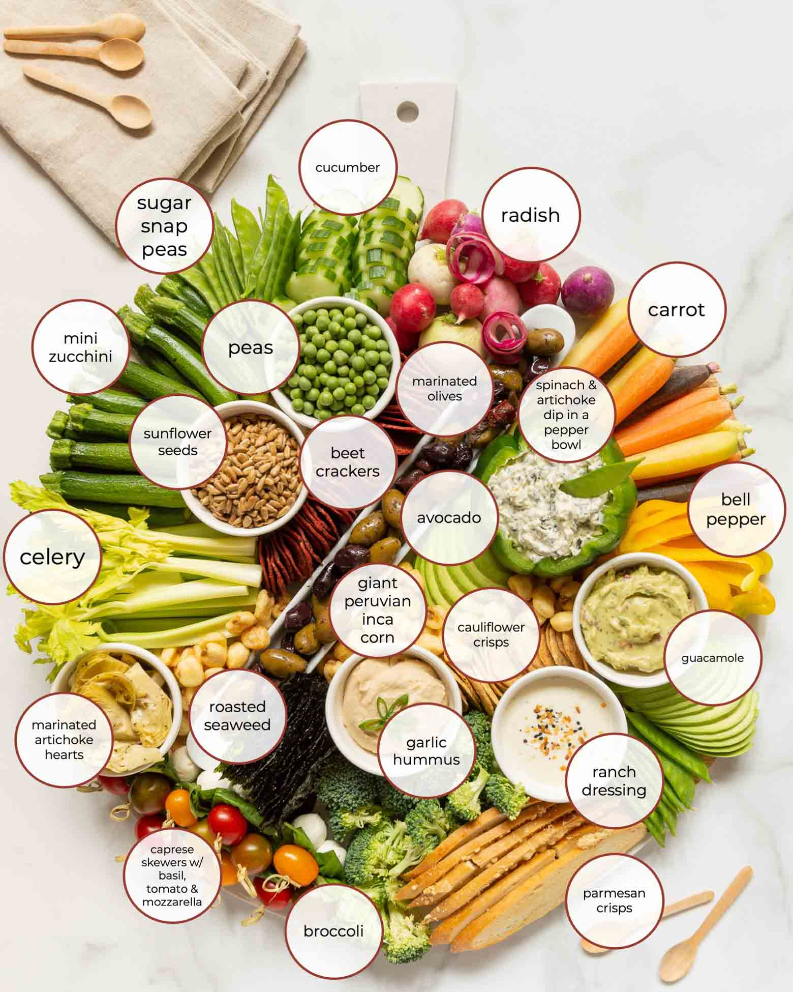 Crudité Board or Veggie Board Party Platter -- Ideas for Bridal Shower Food and Baby Shower Food!