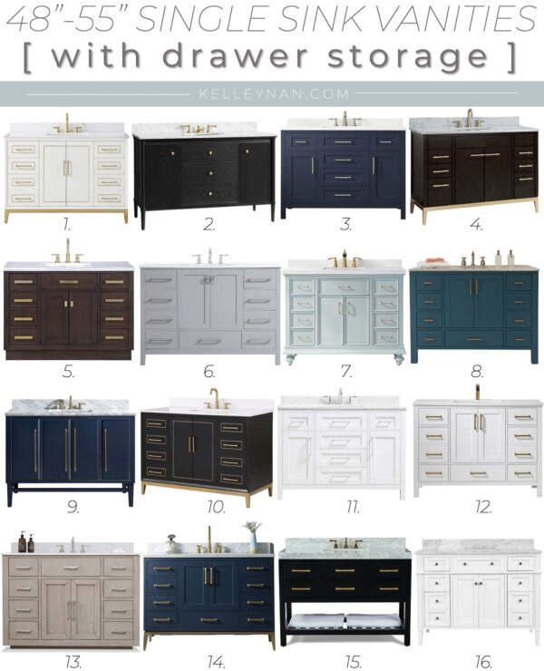 "Prettiest 48"" Single Sink Vanities with Lots of Storage"