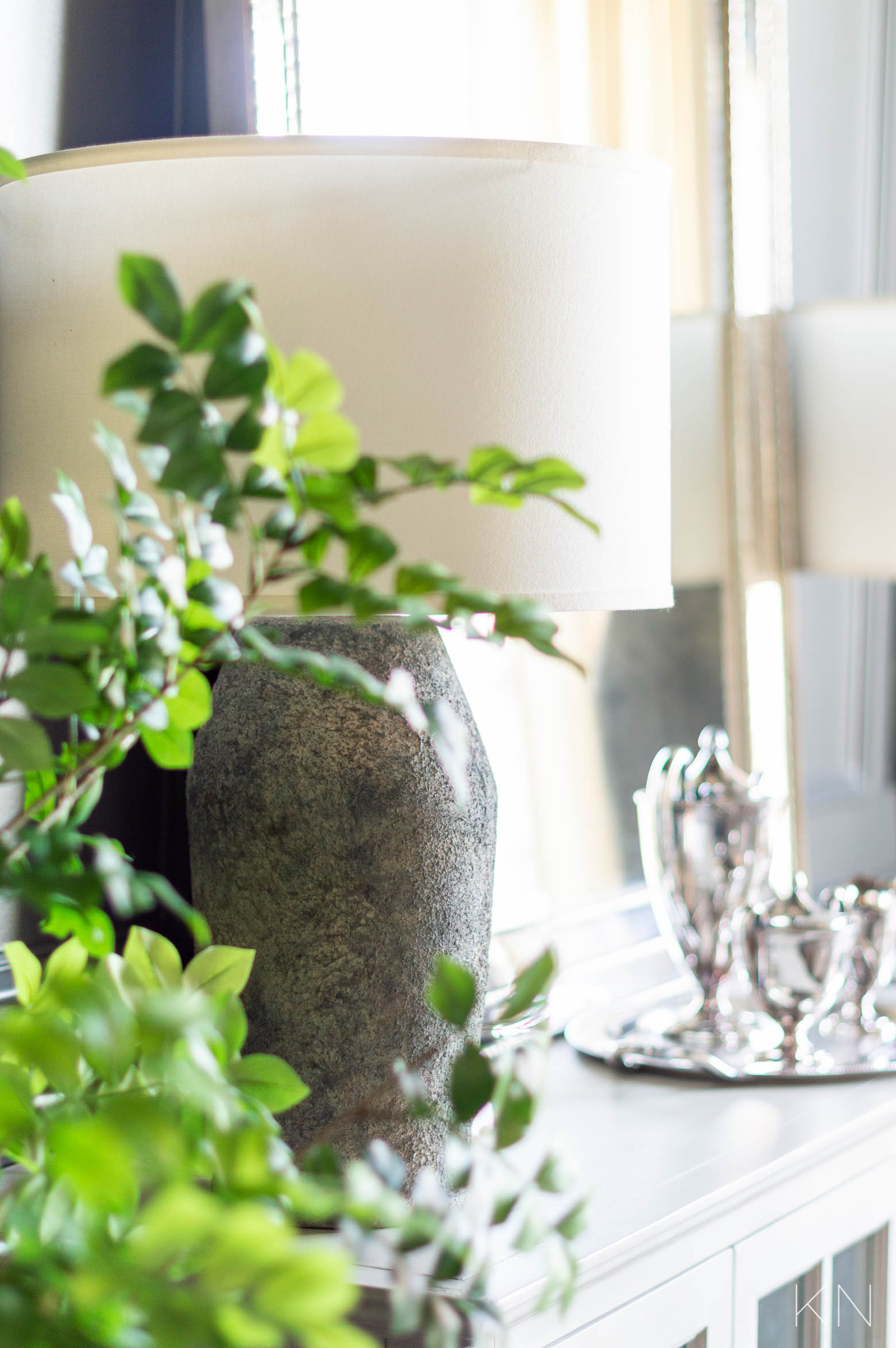 Dining Room Reveal with New Cement Style Sideboard Lamps