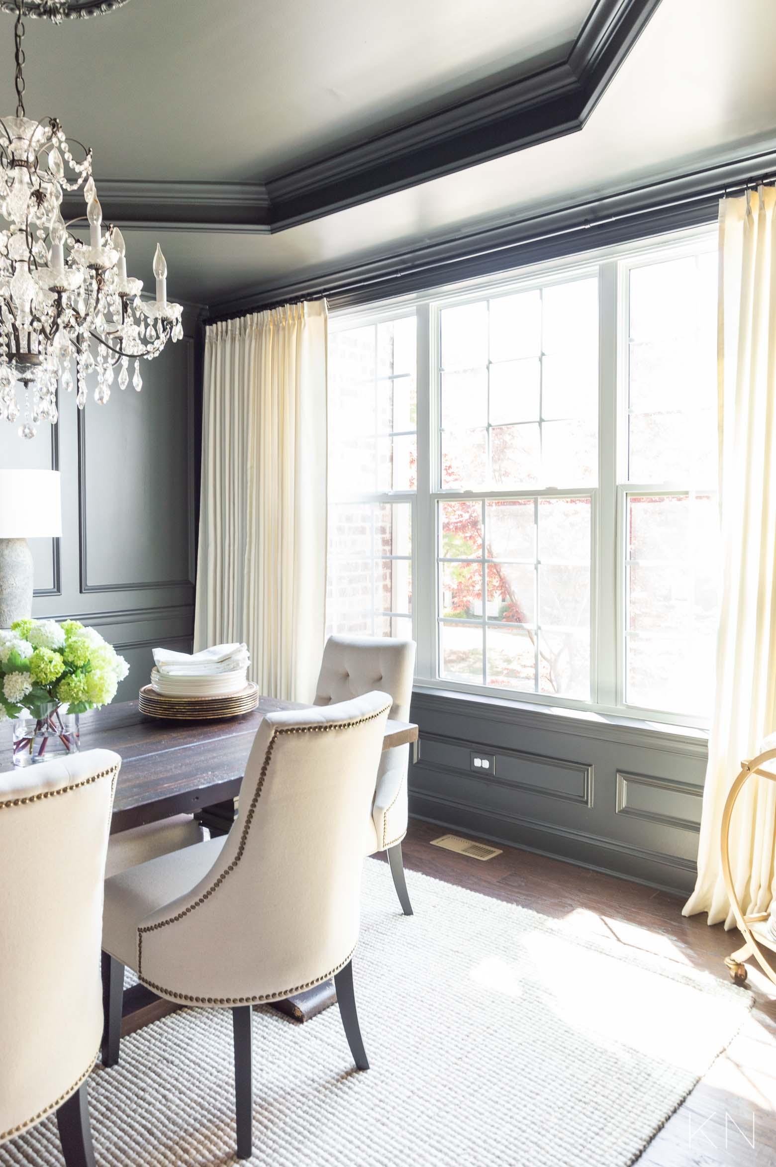 Elegant Large Dining Room Windows with Ivory Pleated Curtains
