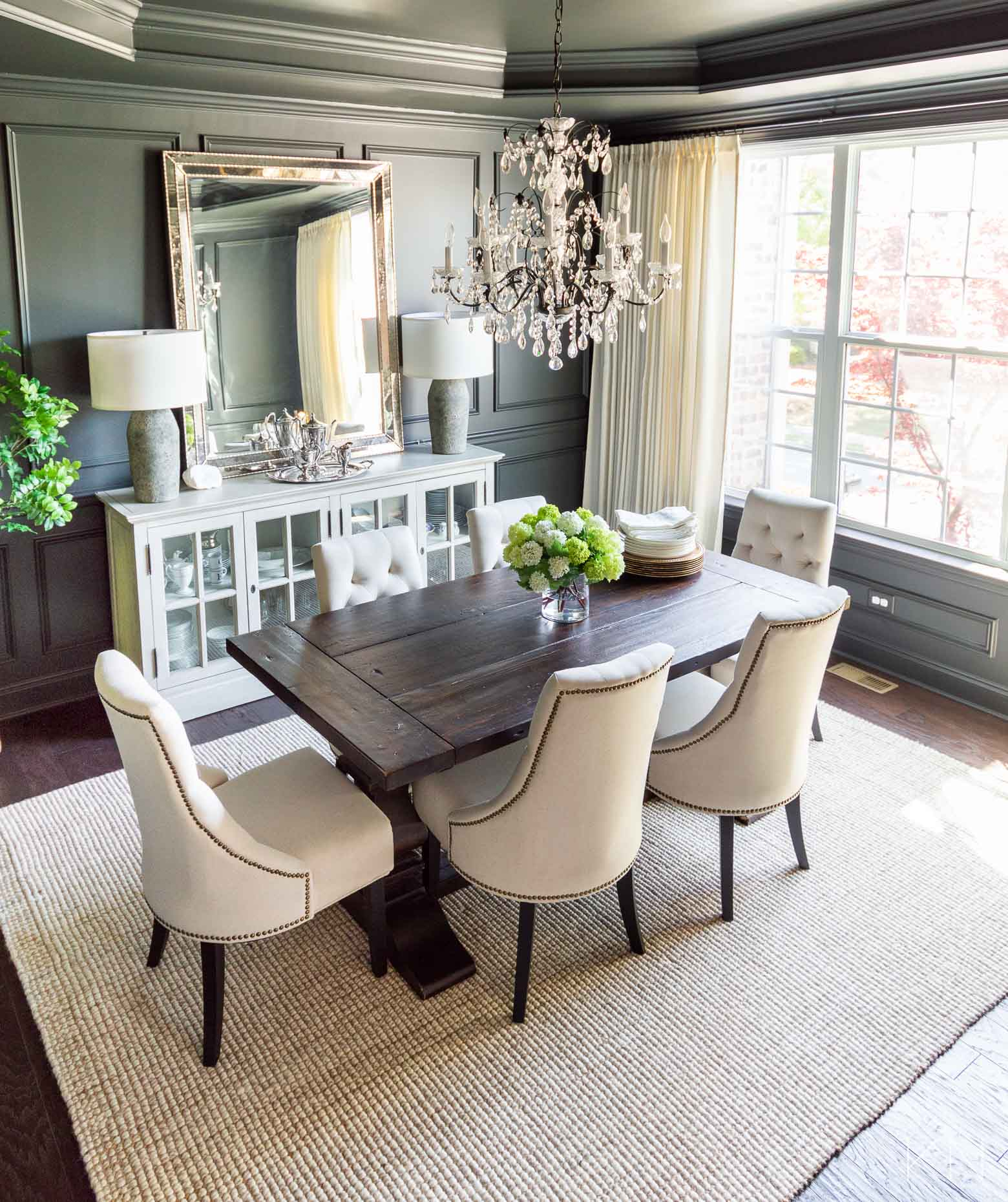 Dining Room Reveal in Sherwin Williams Iron Ore