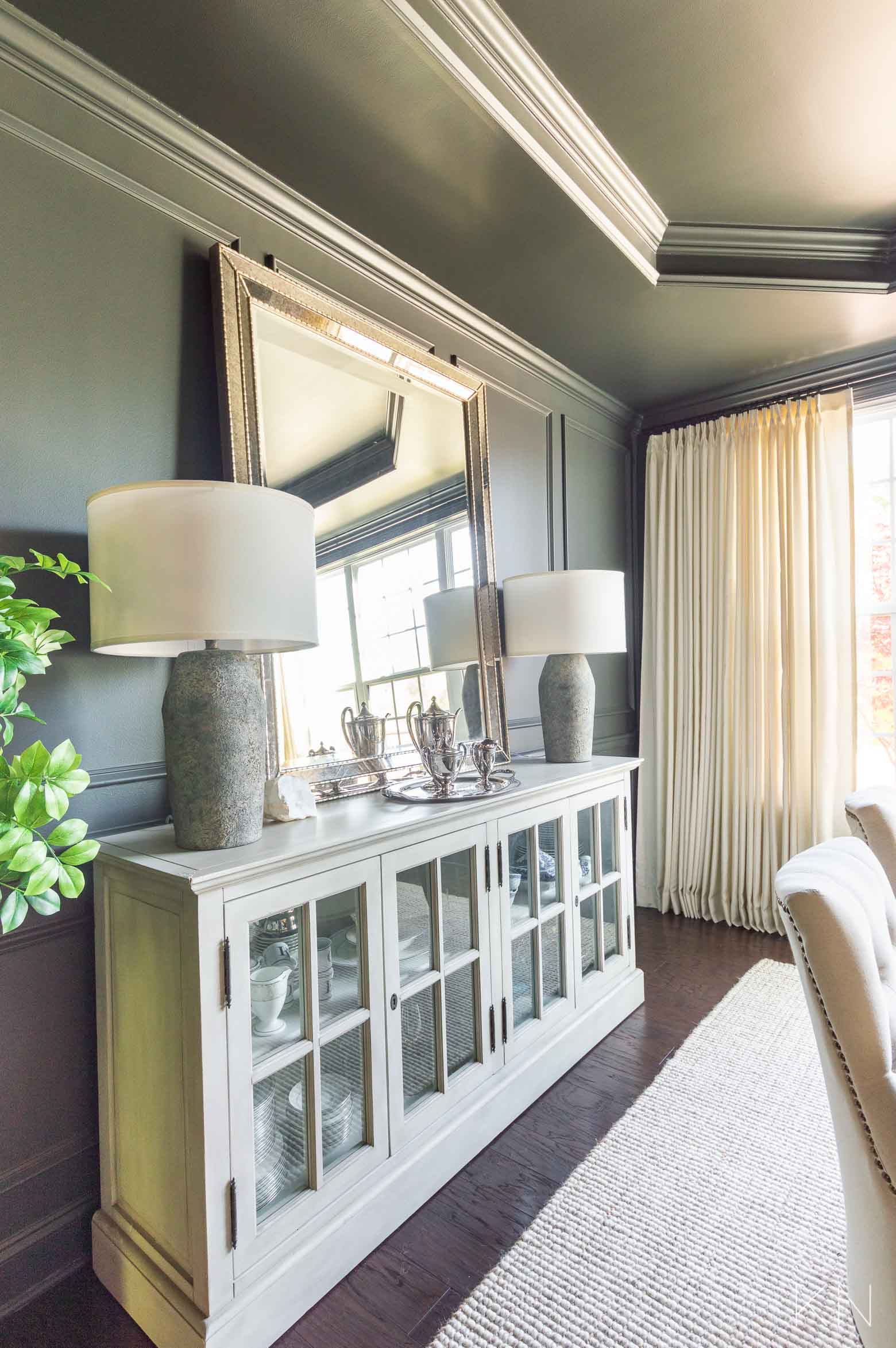 Dining Room Makeover Reveal in Sherwin Williams Iron Ore