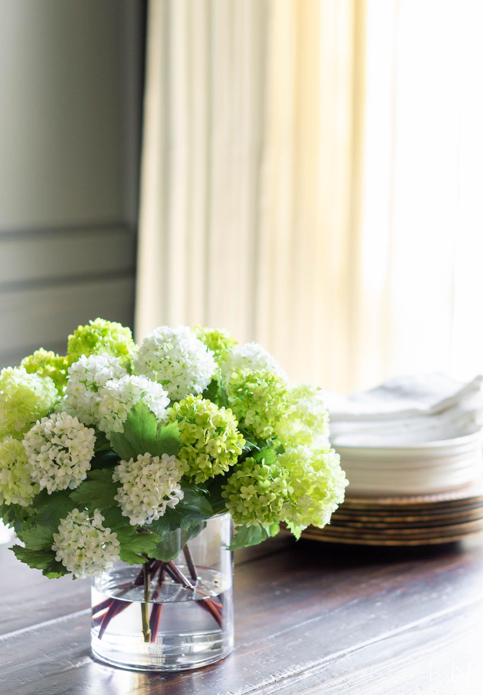Simple, Elegant Faux Snowball Floral Centerpiece