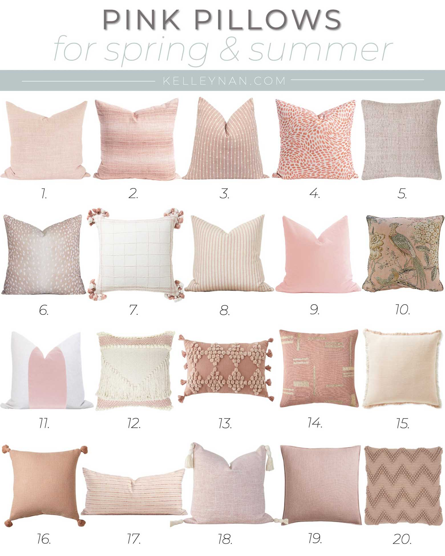 20 Favorite Pink Throw Pillows for Spring and Summer Decor