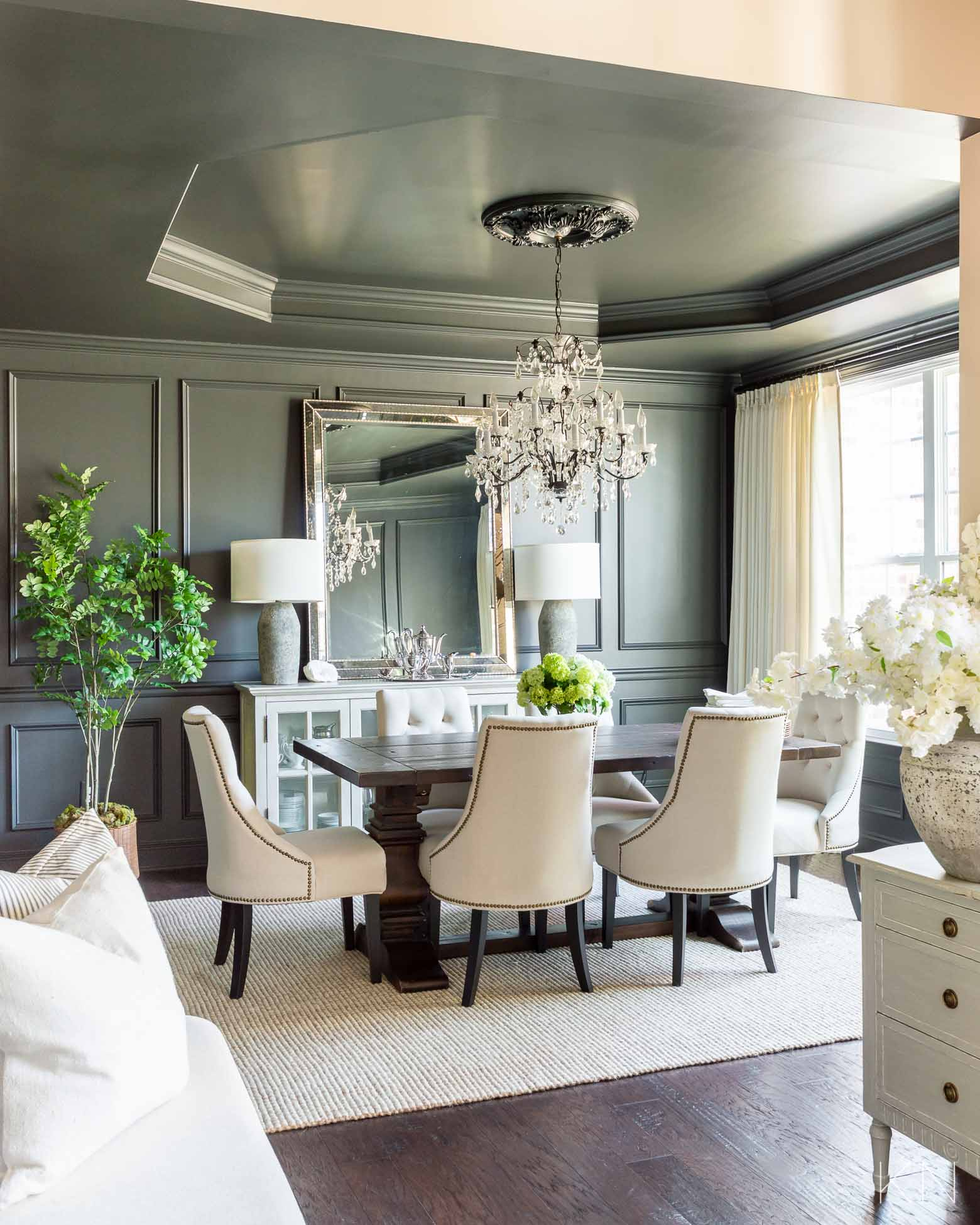 Before and After! Transitional Dining Room Makeover Reveal -- from Blue to Sherwin Williams Iron Ore Charcoal Black
