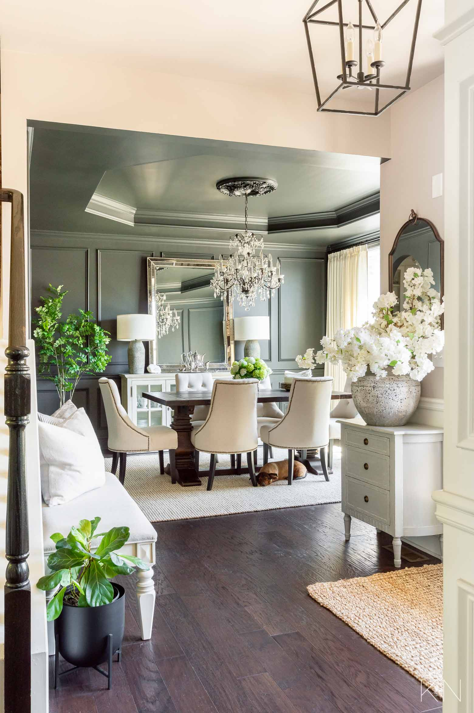 Transitional Dining Room Makeover Reveal! From Blue to Sherwin Williams Iron Ore Charcoal Black