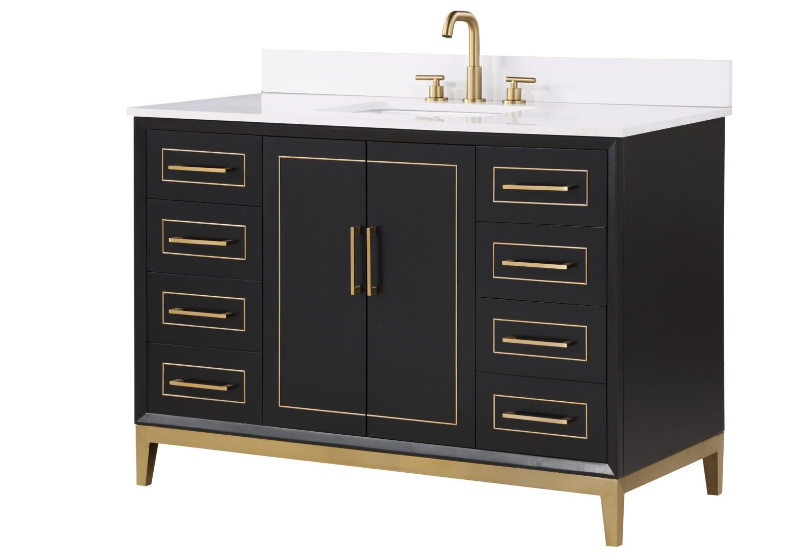 Gorgeous Black Bathroom Vanity with Gold Accents for Master Bathroom