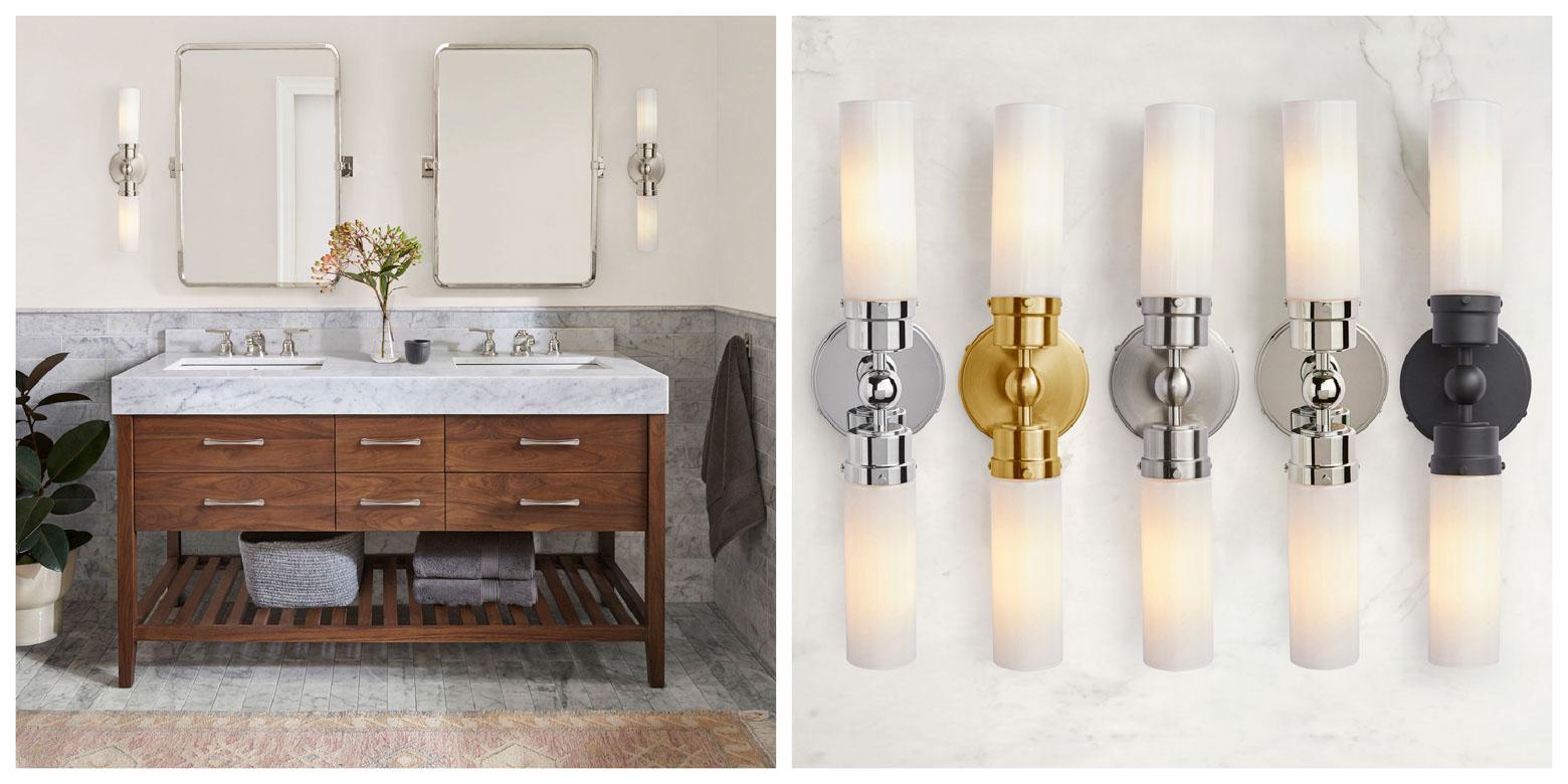 Double Sconces for Bathroom Design Ideas