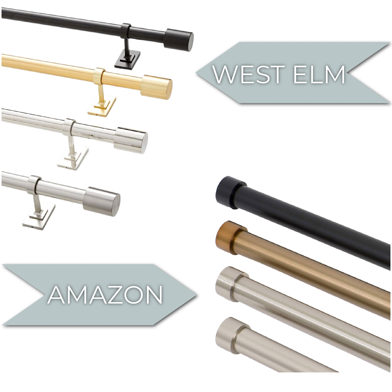 Modern Curtain Rod Comparison -- Amazon vs. West Elm Curtain Rods