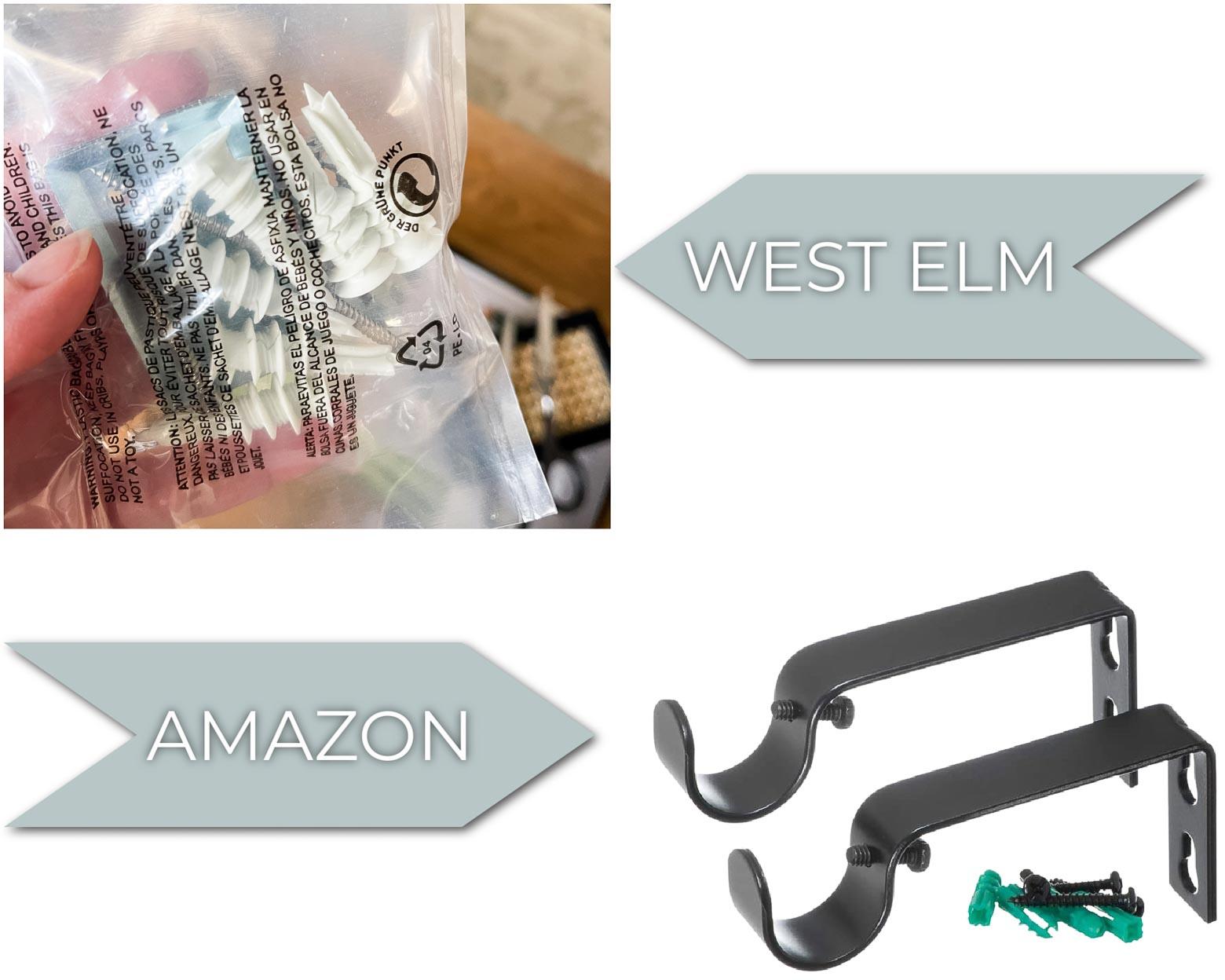 West Elm Curtain Rod Hardware vs. Amazon Modern Curtain Rod Hardware Comparison