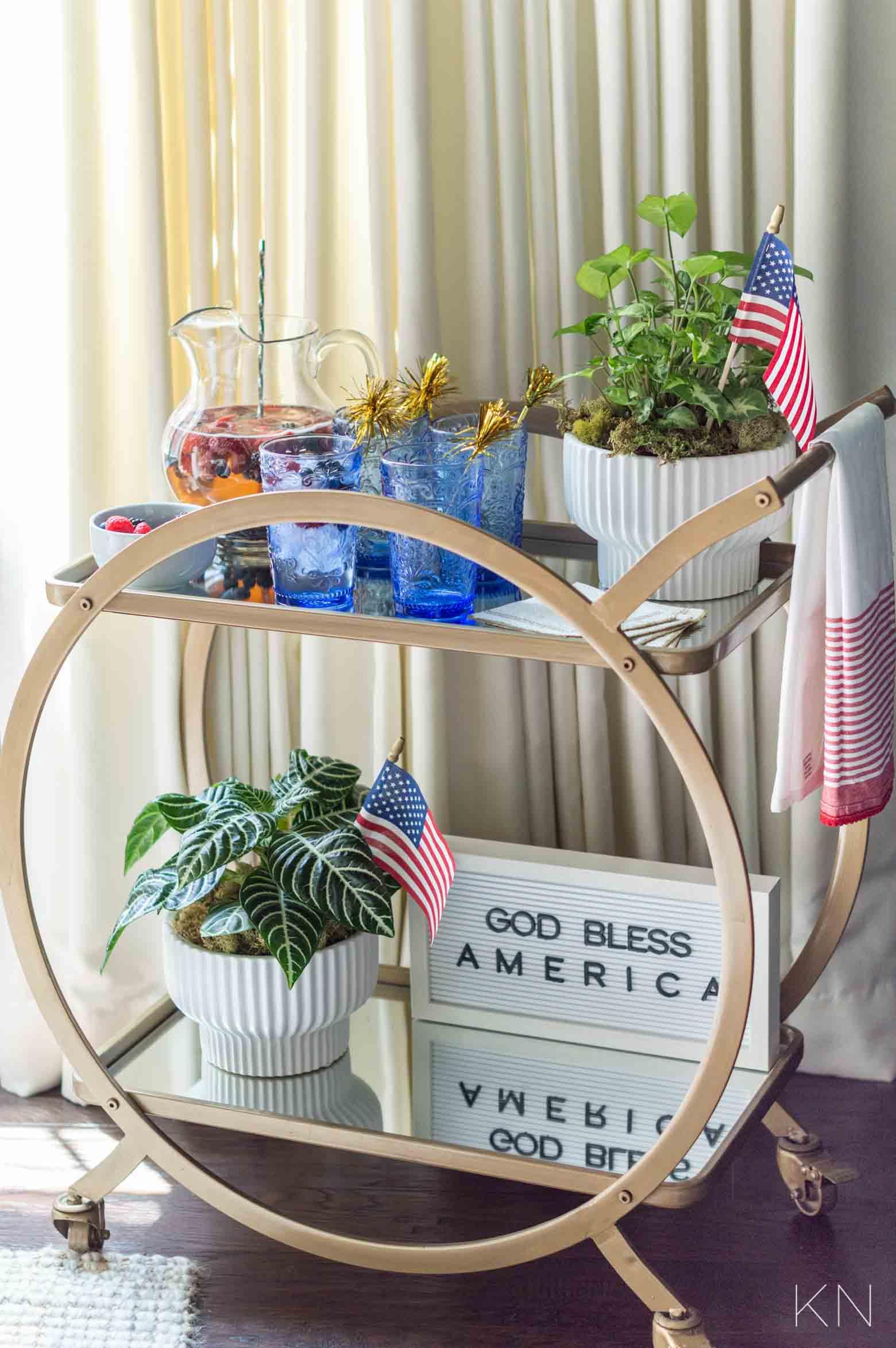 Fourth of July Bar Cart Decor & Decorating Ideas