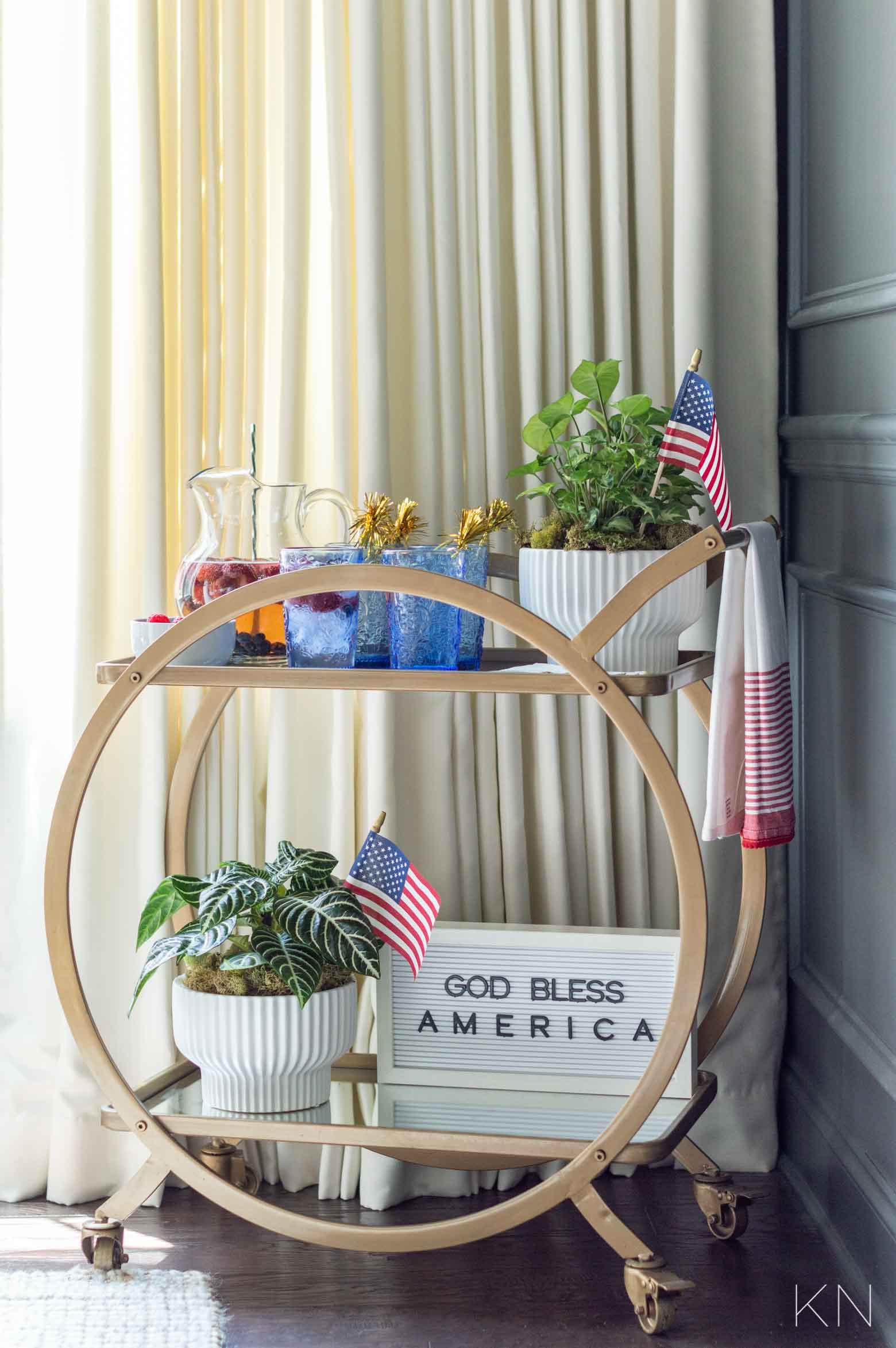Fourth of July Bar Cart Decor