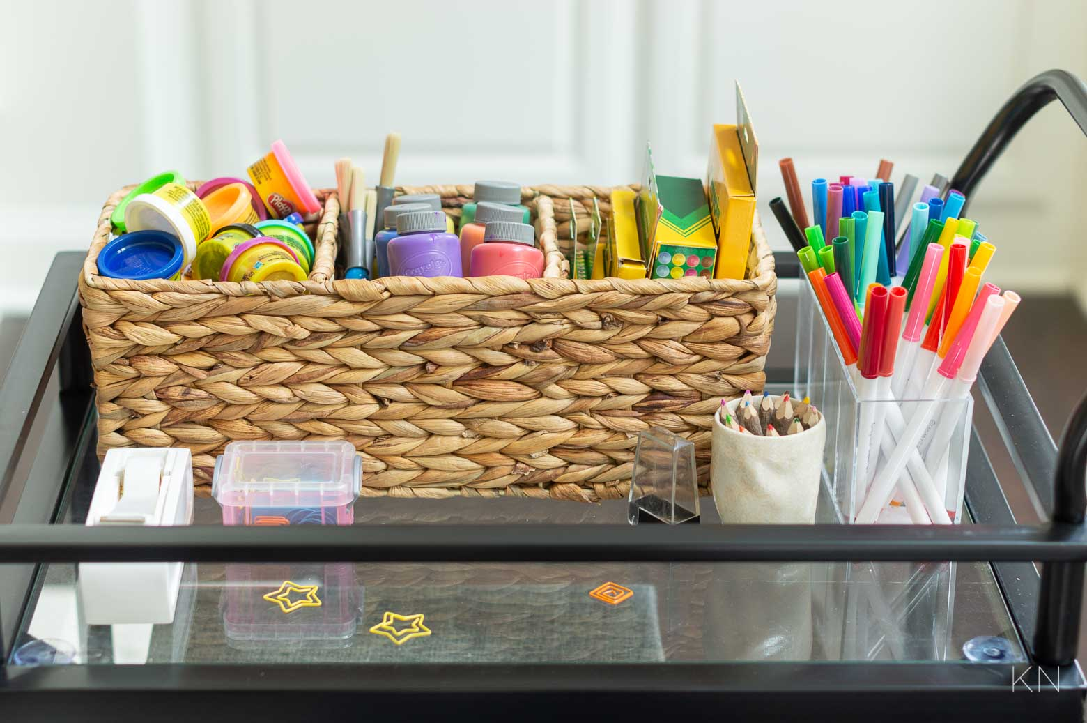 How to Use a Bar Cart for Kids Art Supplies