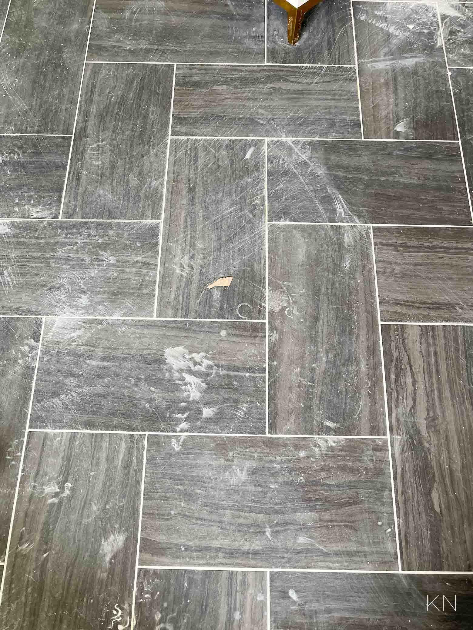Master bathroom 12x24 black chevron tile