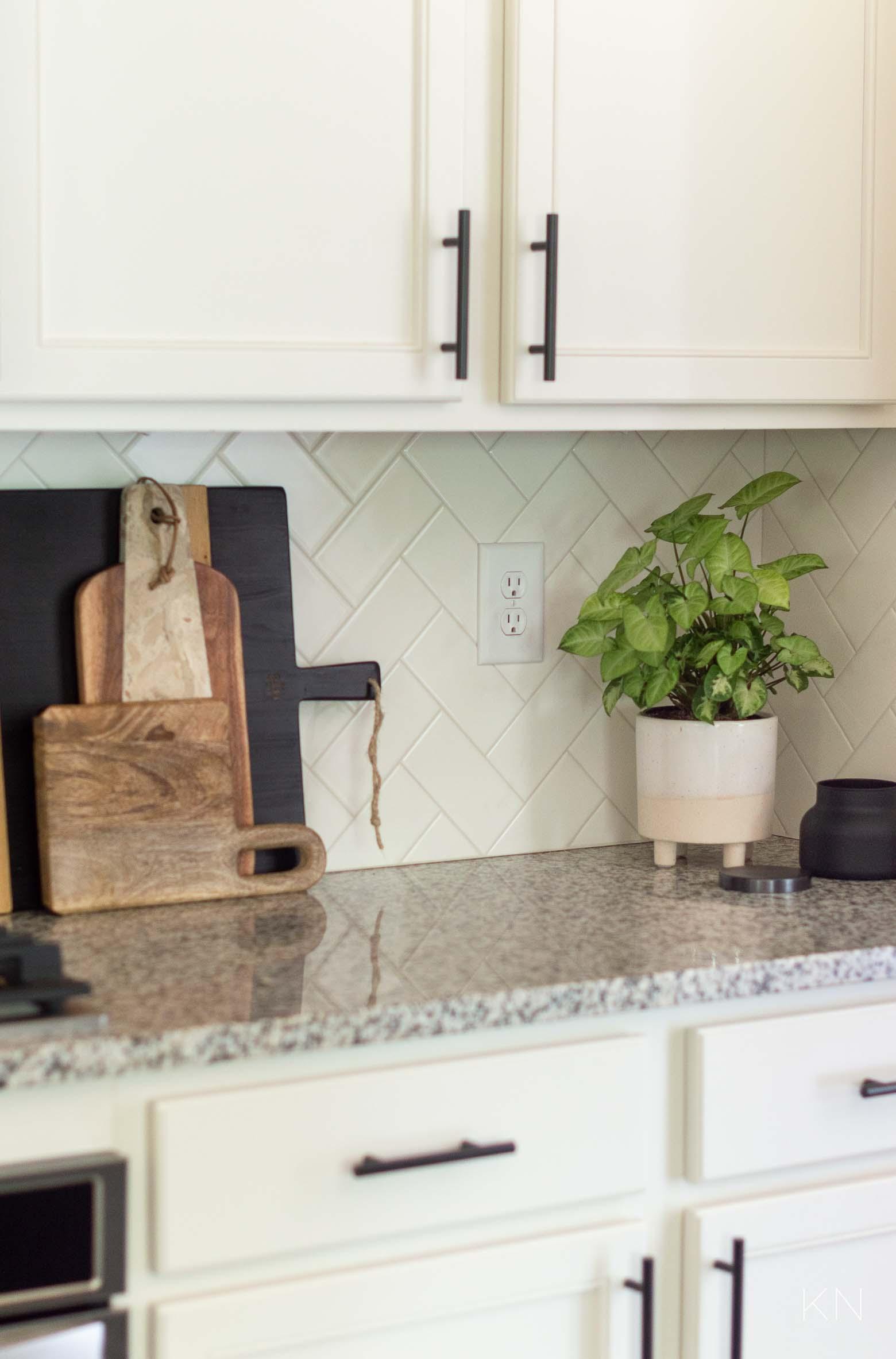 Herringbone White Subway Tile Backsplash and Affordable Ways to Update Your Kitchen