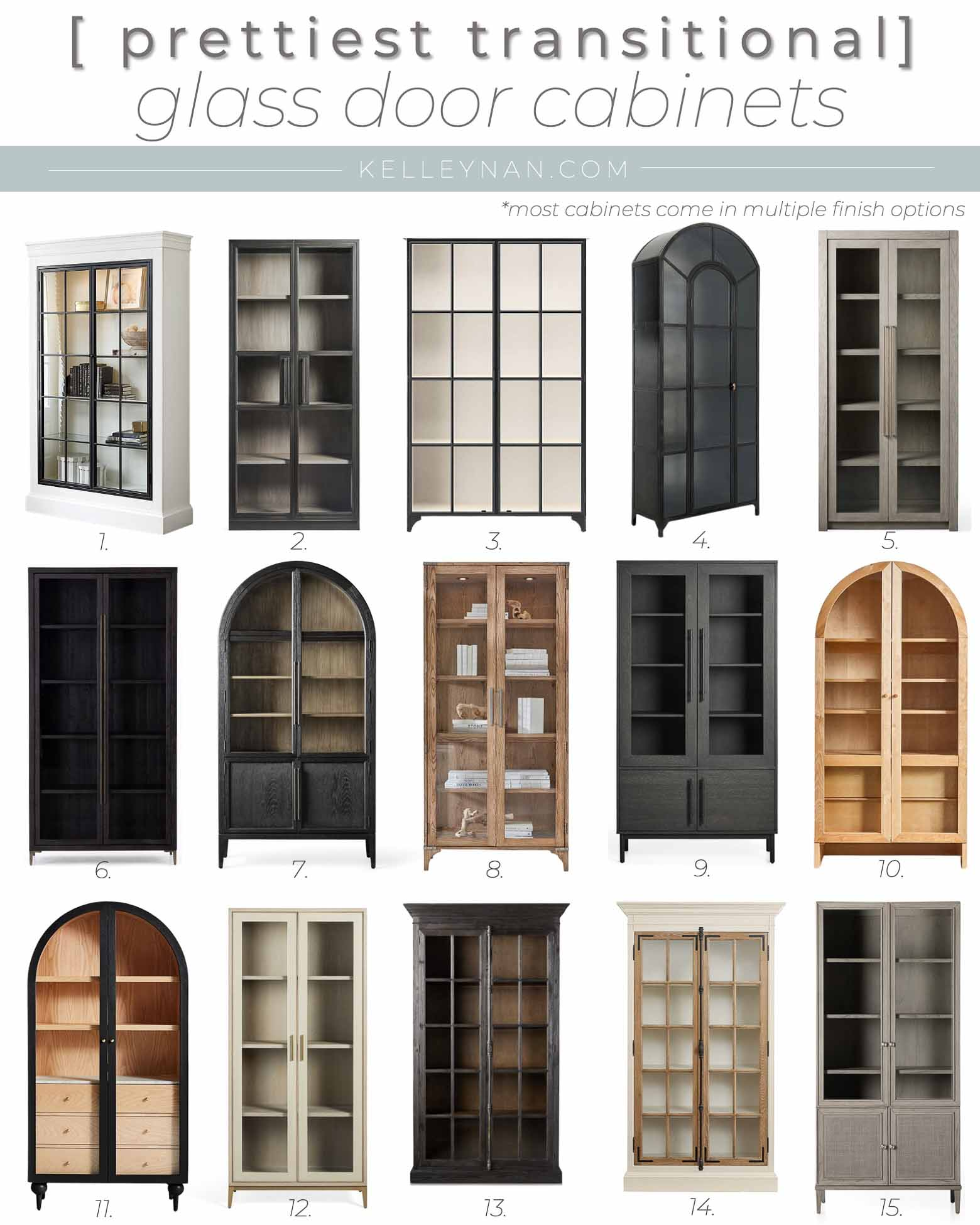 15 Prettiest Glass Door Cabinets -- All Transitional Styles that will Work With Everything from Traditional Classic Design to Modern Home Design