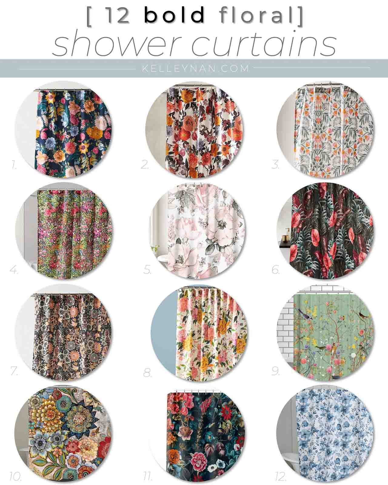 12 Colorful Bold Floral Shower Curtains for a Guest Bathroom
