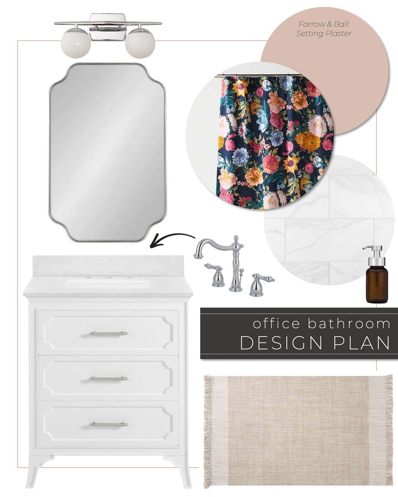 Colorful Guest Bathroom Design Plan with White Vanity and Pink Painted Walls