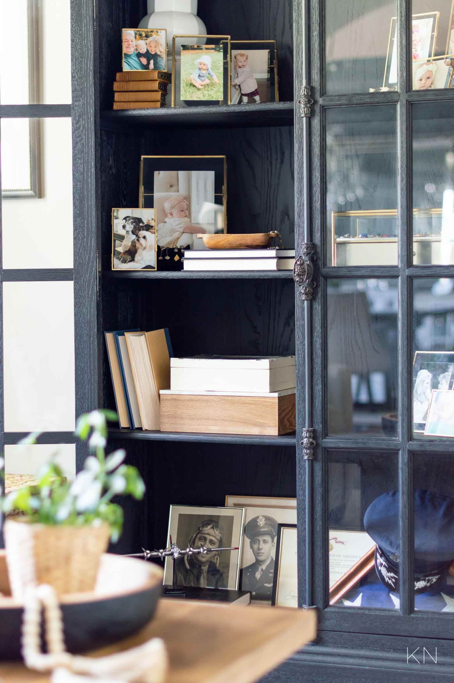 How to Decorate a Glass Door Cabinet with Special Family Heirlooms