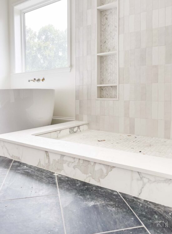 marble shower curb and the master bathroom reno progress