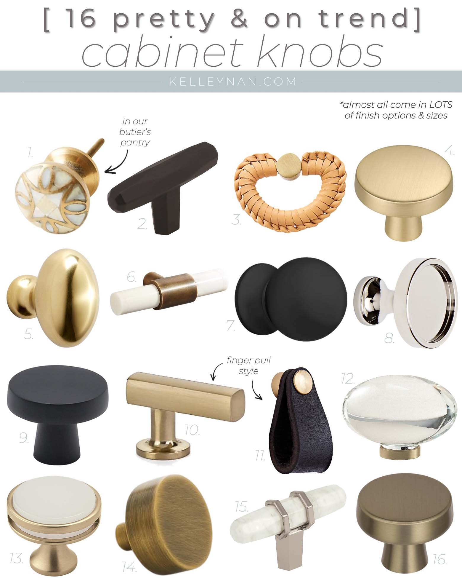 16 Pretty Cabinet Knobs for the Kitchen, Bathroom, and Accent Pieces of Furniture Like Dressers!