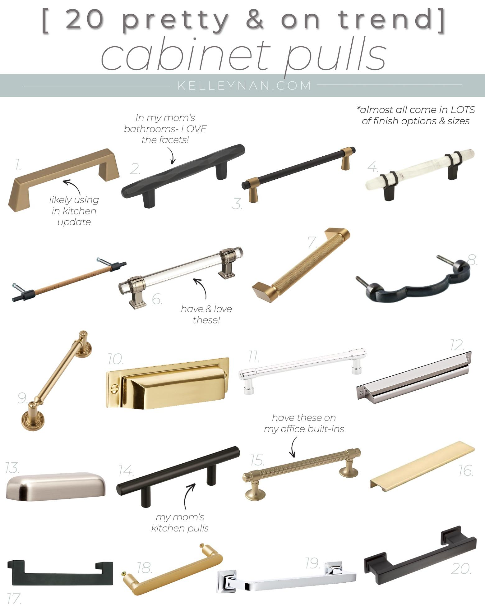 20 Pretty Kitchen Cabinet Pulls and Bathroom Hardware -- Transitional to Modern to Fit Almost Any Style!