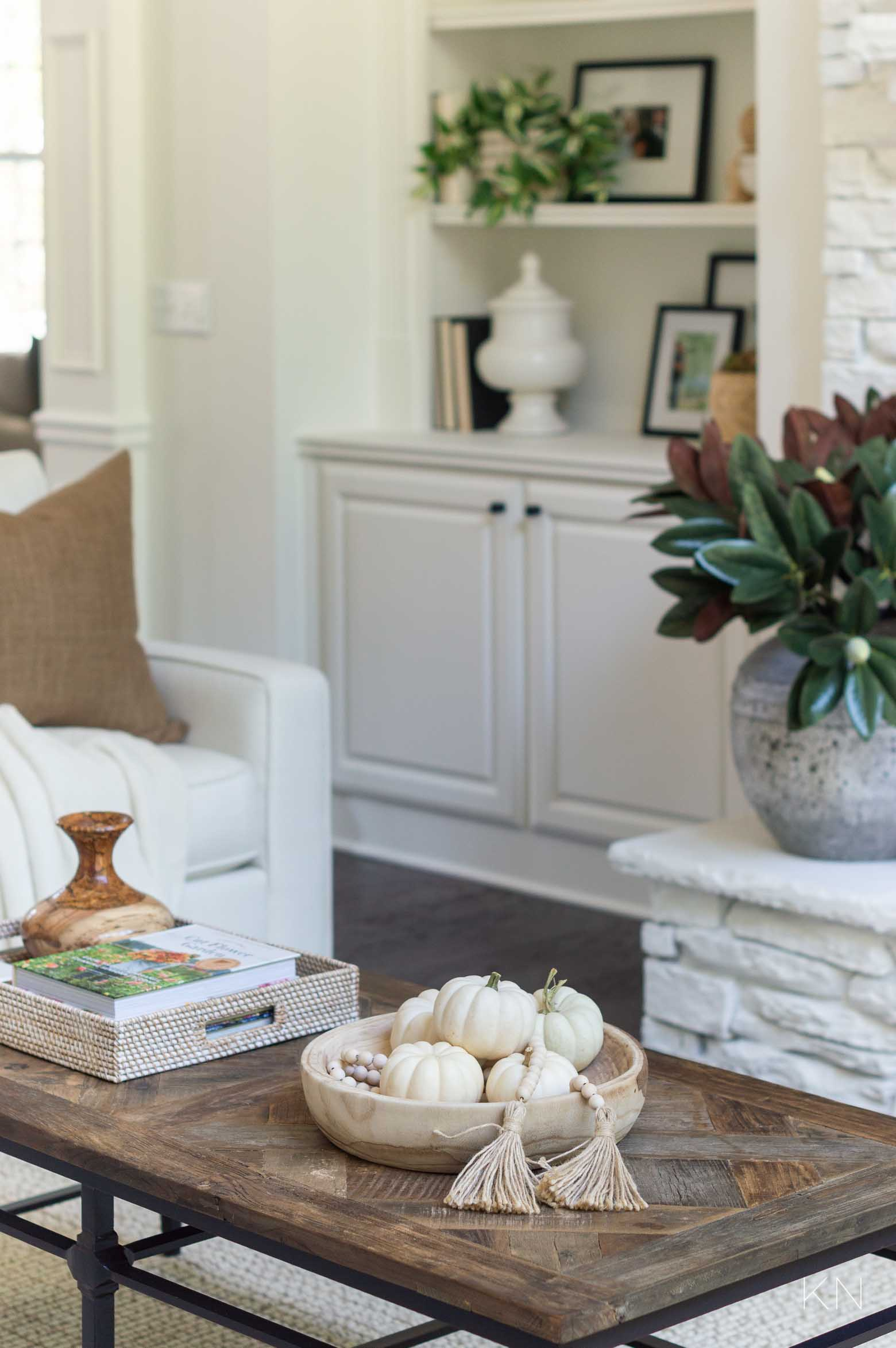 White Living Room with Neutral Fall Decor