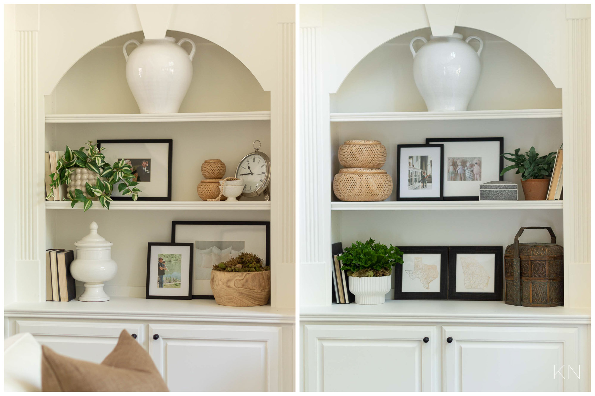 White Living Room Decor with Built In Shelf Decor Ideas