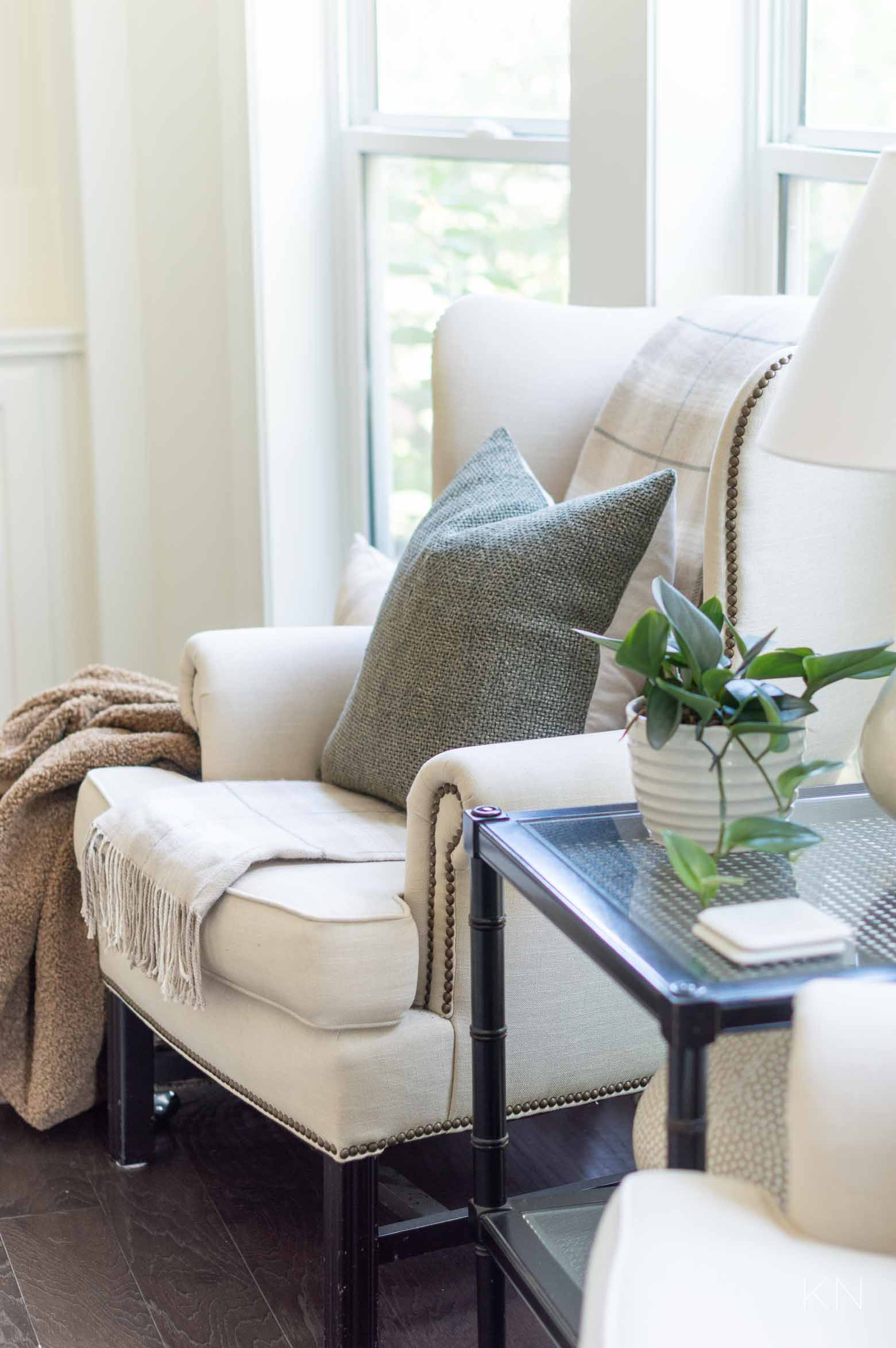 Fall Living Room Ideas with Greens and Neutrals