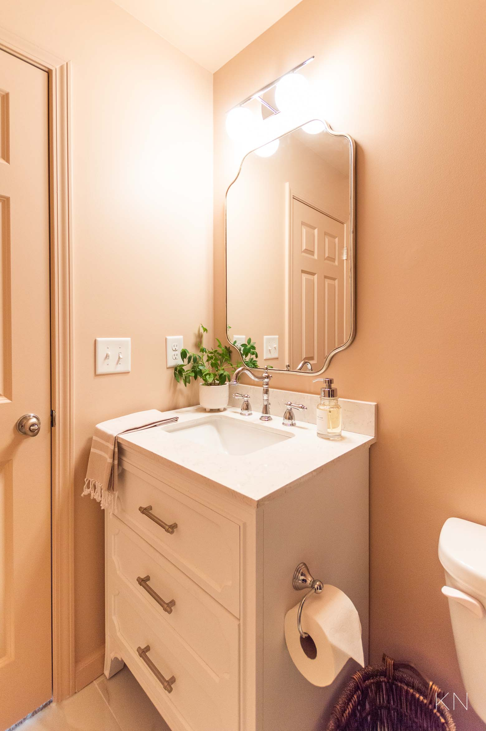 Affordable Small Pink Bathroom Makeover Reveal and Remodel