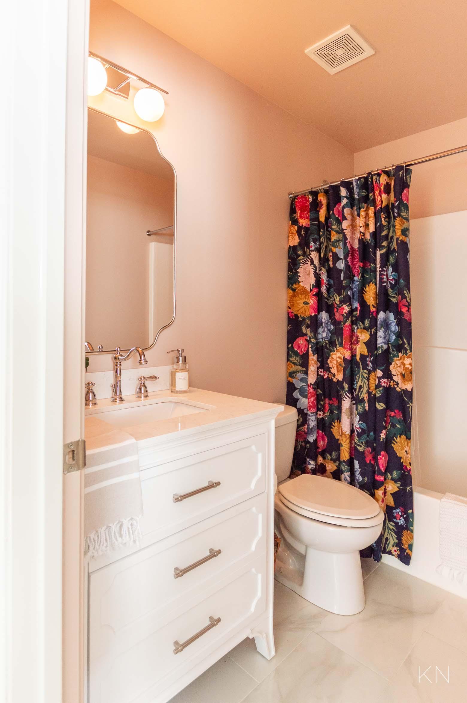Affordable Pink Bathroom Makeover Reveal