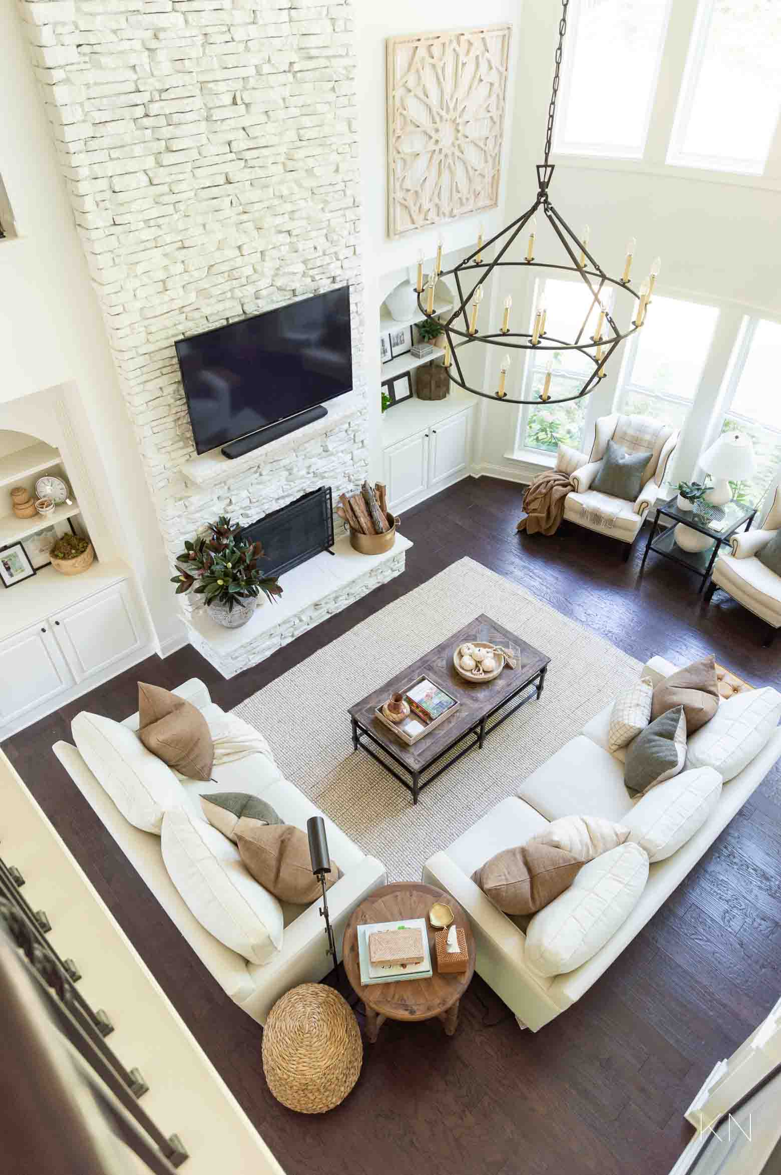 White Living Room Design and Home Decorating Ideas with Tall Two Story Ceilings