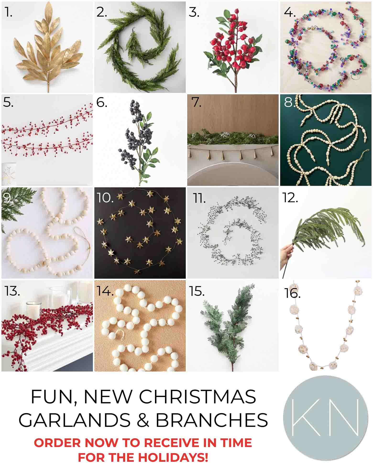 2021 Christmas Garland and Stems to Embellish your Christmas Mantel and Holiday Home
