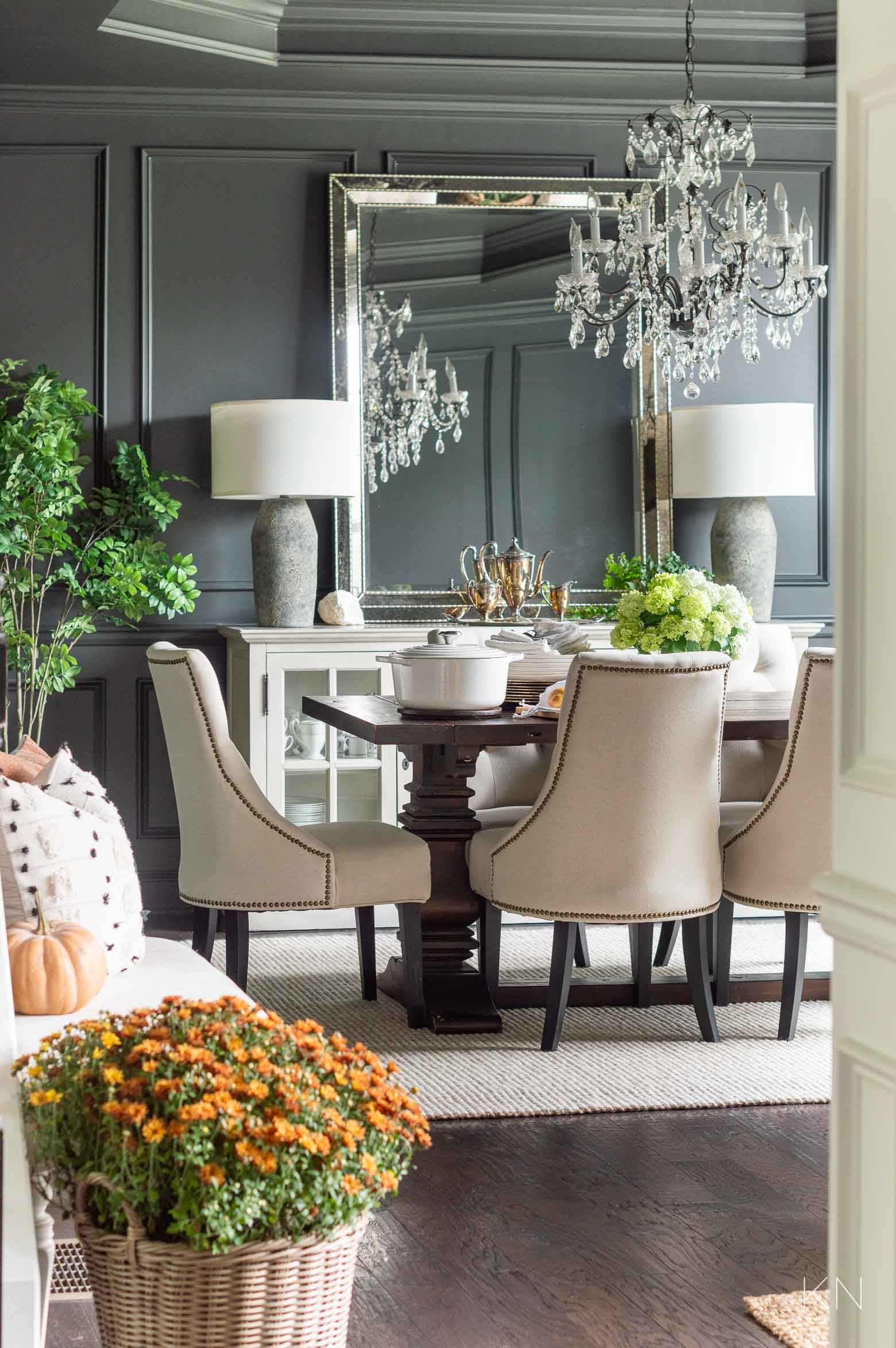 Fall Dining Room with Pot Roast for Family Dinner