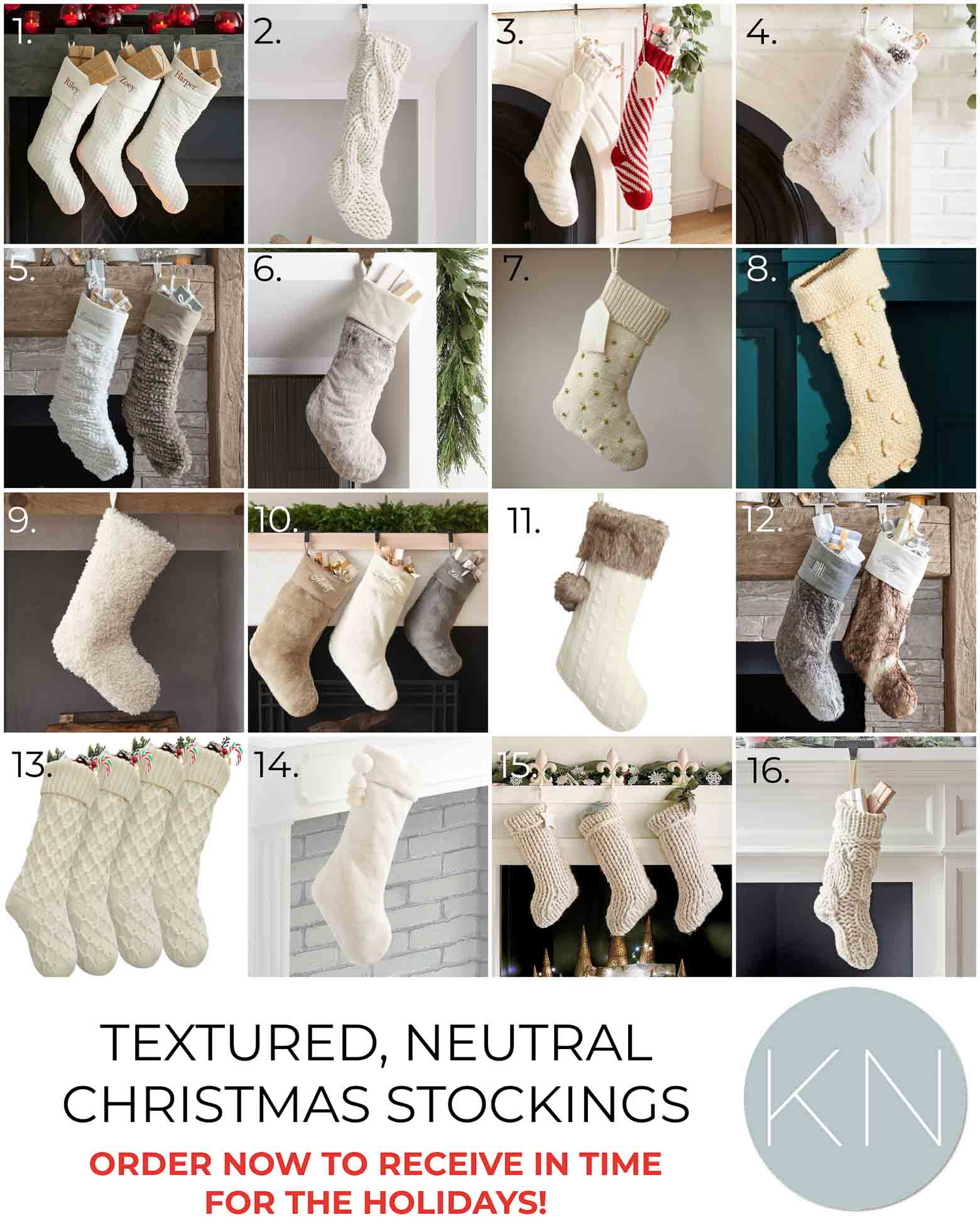Favorite Neutral, White, and Fur Christmas Stockings for 2021